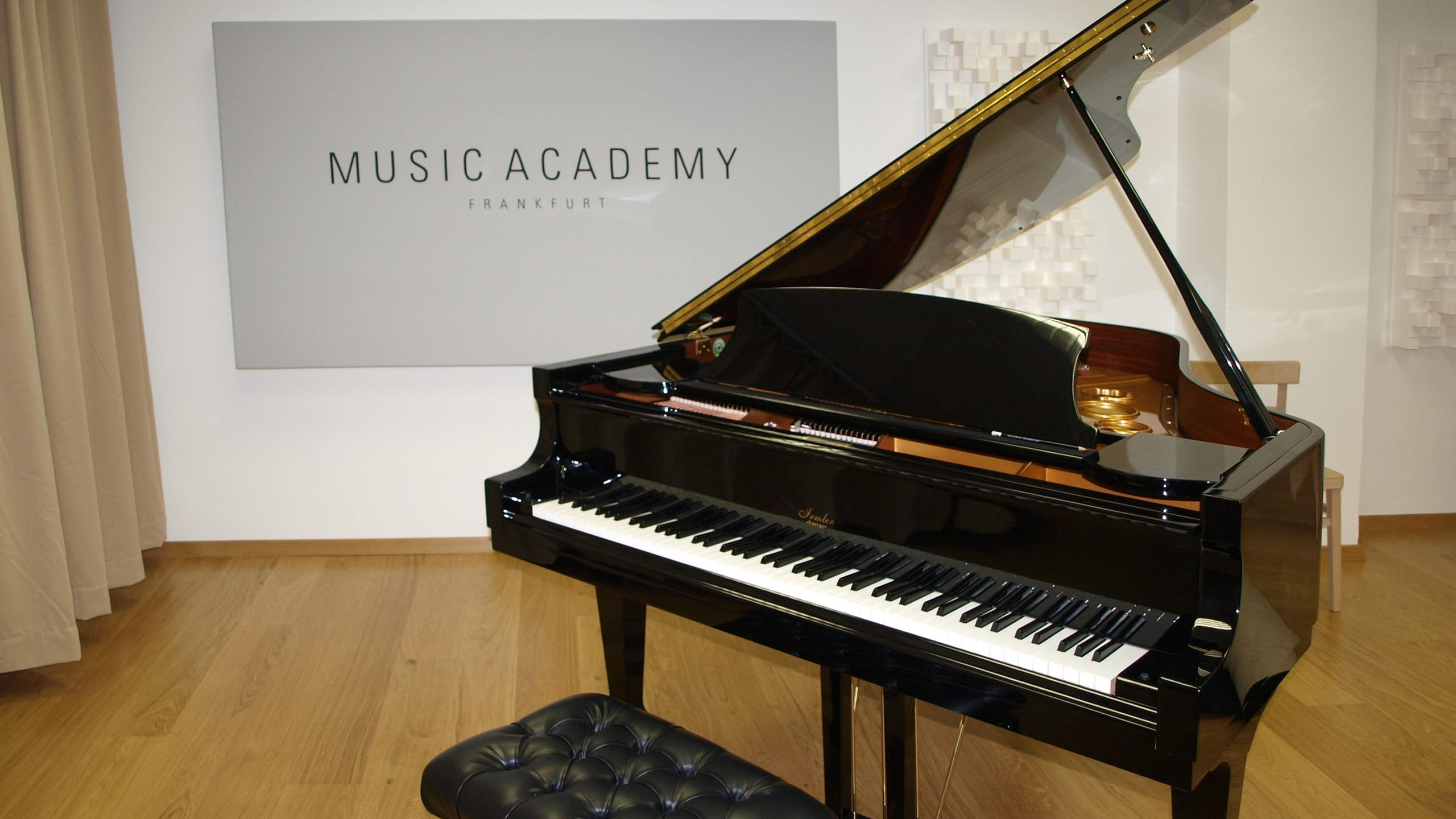 Grand piano in tracking room