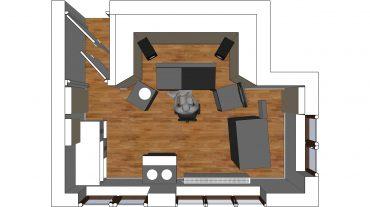 Entwurf Draufsicht mit neu geschaffenem Zugang und stereosymmetrischer Anordnung