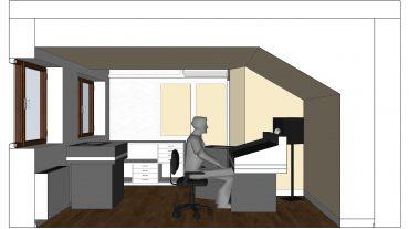 Entwurf Längsschnitt mit Acoustic Design System ADS an Frontwand und Decke