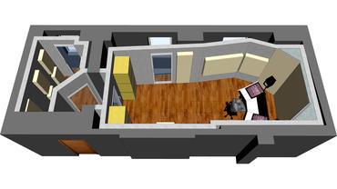 CAD Entwurf des Blessville Studios mit Regie und kleinem Aufnahmeraum
