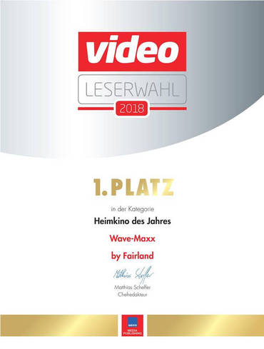 We are especially glad about the first place of the video reader's choice, the Wave-Maxx is home cinema of the year. Many thanks to our partner Fairyland for the great cooperation!