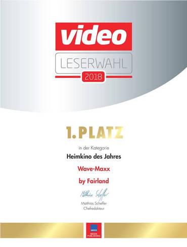 Wir freuen uns ganz besonders über den ersten Platz der Video-Leserwahl, das Wave-Maxx ist Heimkino des Jahres. Vielen Dank an unseren Partner Fairland für die tolle Zusammenarbeit!